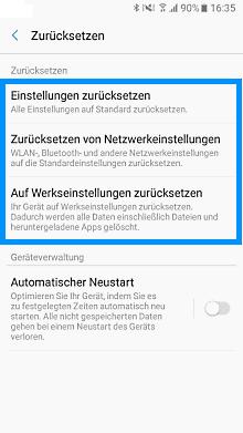 Samsung Galaxy A3 (2017), auf Werkseinstellungen zurücksetzen