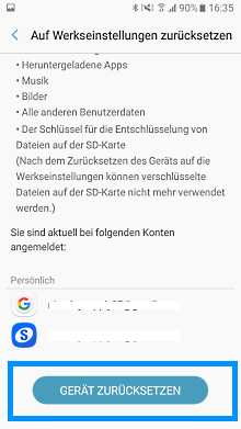 Samsung Galaxy A5 (2017) auf Werkseinstellungen zurücksetzen