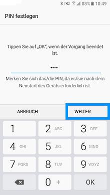 Samsung Galaxy A3 (2017), PIN einrichten