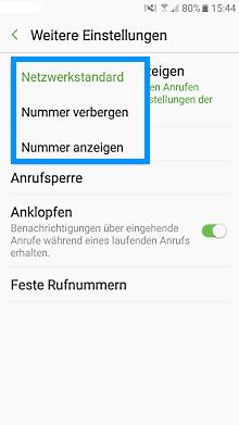 Samsung Galaxy S7 (Edge), Rufummmerunterdrückung einstellen