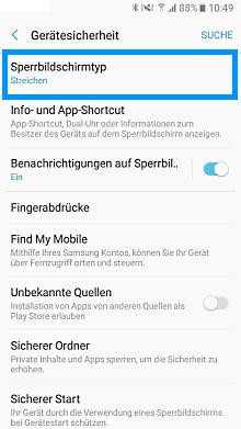 Passwort auf Samsung Galaxy einrichten, Sperrbildschirmtyp