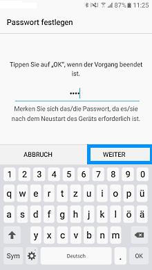 Passwort auf Samsung Galaxy einrichten, Passwort festlegen
