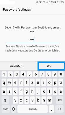 Passwort auf Samsung Galaxy einrichten, Passwort bestätigen