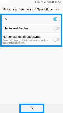 Passwort auf Samsung Galaxy einrichten, Benachrichtigungen auf Sperrbildschirm