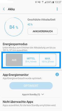 Akkulaufzeit von einem Samsung Galaxy A5 verbessern, Energiesparmodus