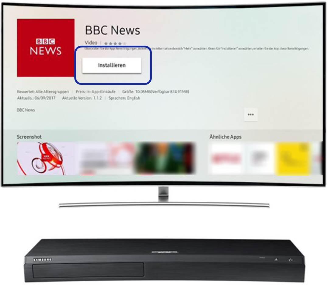 Die BBC News App soll installiert werden. Entsprechender Button ista ngewählt
