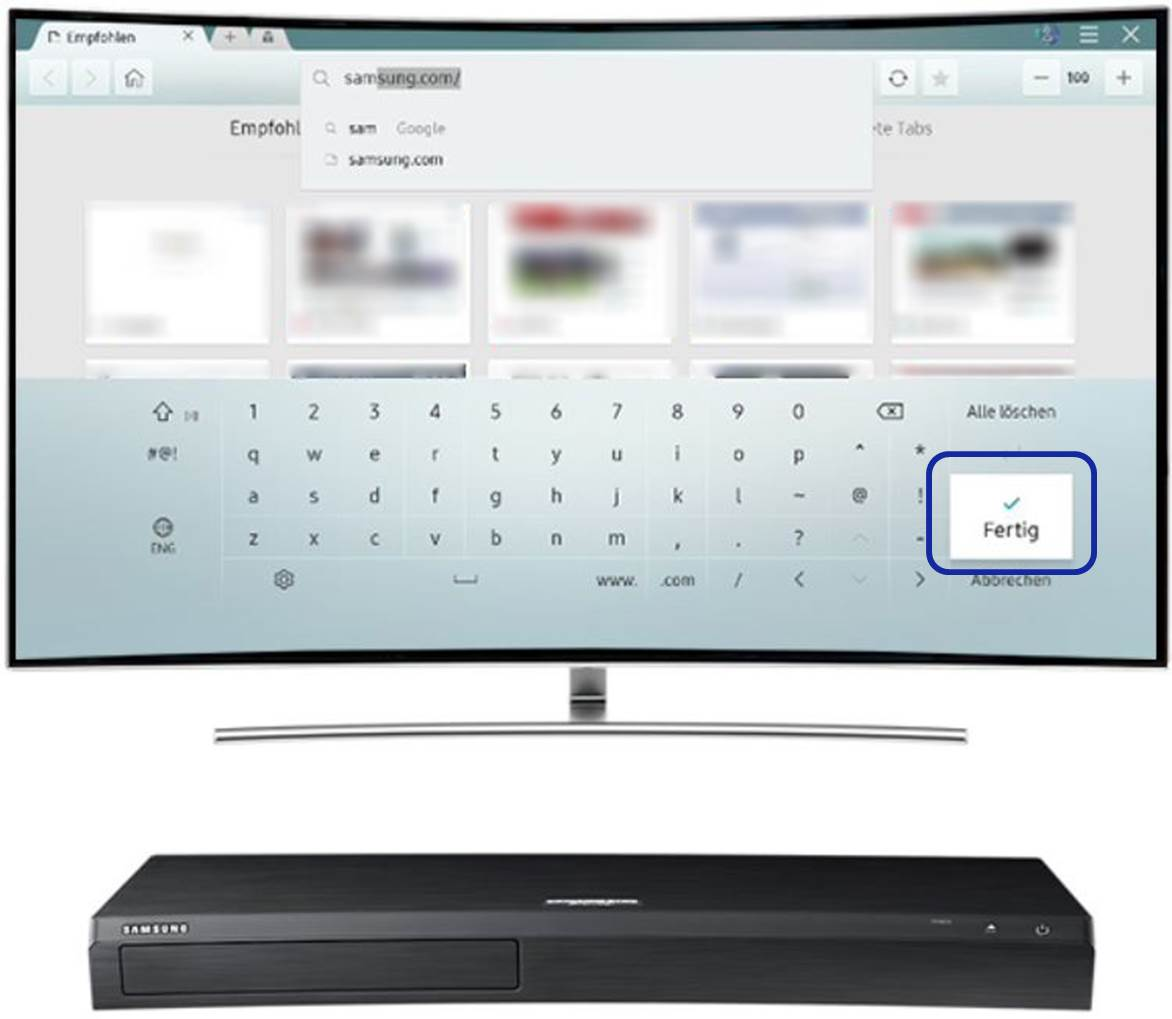 In das Adressfenster wird die Samsung.com Adresse eingegeben.