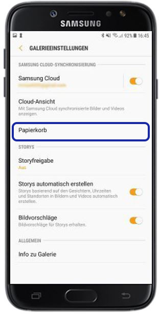 gelöschte Bilder auf Samsung Galaxy wiederherstellen, Galerie Cloud