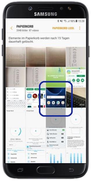 gelöschte Bilder auf Samsung Galaxy wiederherstellen, Bilder im Papierkorb
