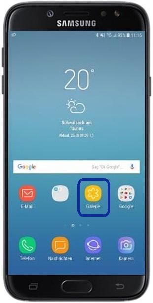 Samsung Cloud-Papierkorb nutzen, Startbildschirm