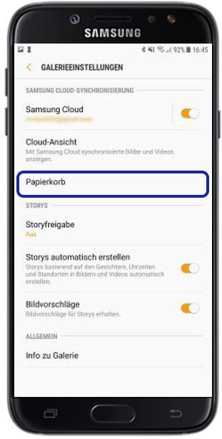 Samsung Cloud-Papierkorb nutzen, Galerie Cloud
