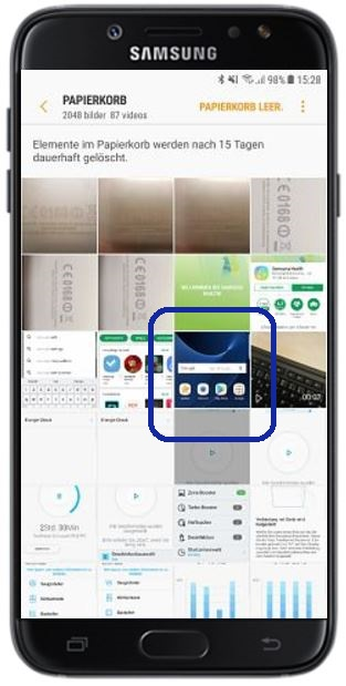 Samsung Cloud-Papierkorb nutzen, Bilder im Papierkorb