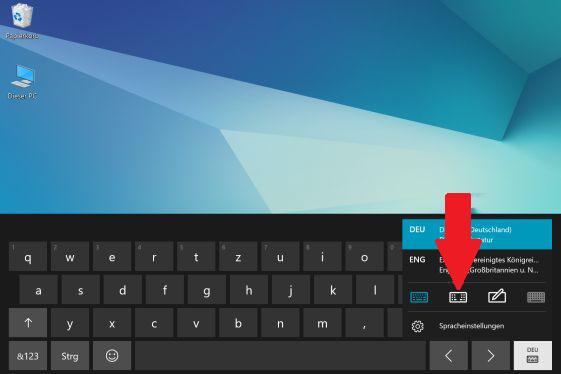 Layout der Bildschirmtastatur von einem Samsung Galaxy Book ändern, geteilte Tastatur aktivieren