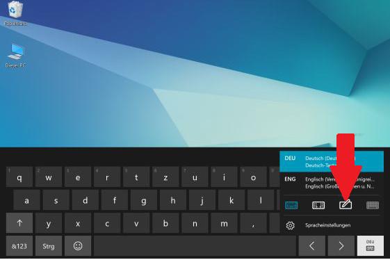 Layout der Bildschirmtastatur von einem Samsung Galaxy Book ändern, Handschriften-Modus