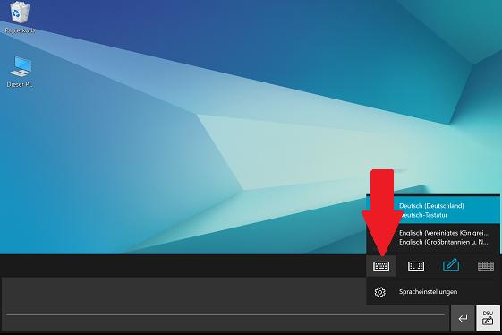 Layout der Bildschirmtastatur von einem Samsung Galaxy Book ändern, Standardlayout-Symbol