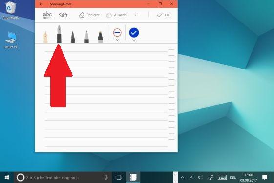 Notiz mit S Pen auf  Galaxy Book erstellen, Stiftart auswählen
