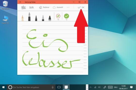 Notiz mit S Pen auf  Galaxy Book erstellen,  alles mit OK bestätigen