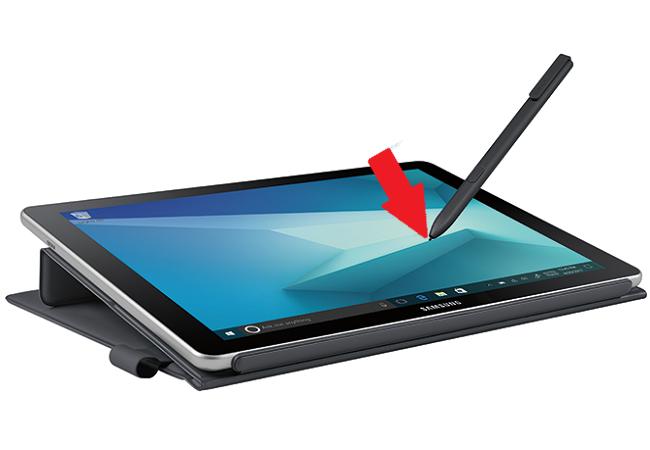 S Pen Befehle-Menü auf Galaxy Book aufrufen, S Pen über Bildschirm halten