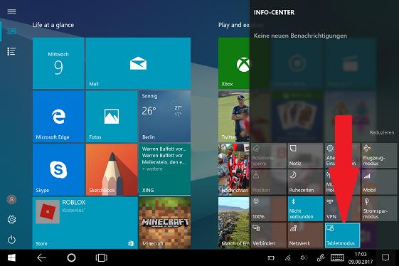 Von Tablet-Modus zum Desktop-Modus wechseln, Schritt 2