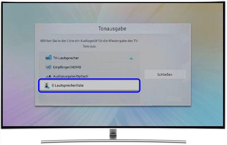 Blueetoth-Kopf mit QLED TV koppeln, Lautsprecherliste