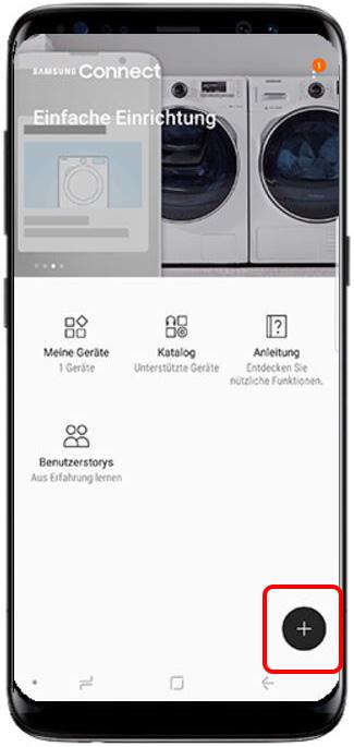 Bild von QLED TV auf Samsung Smartphone streamen, Plus-Symbol