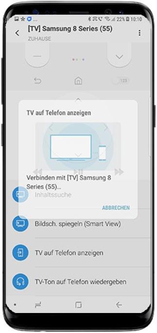 Bild von QLED TV auf Samsung Smartphone streamen, Verbindungsaufbau