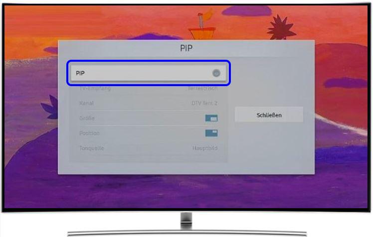 Samsung QLED TV, Einstellungen, PIP erneut wählen