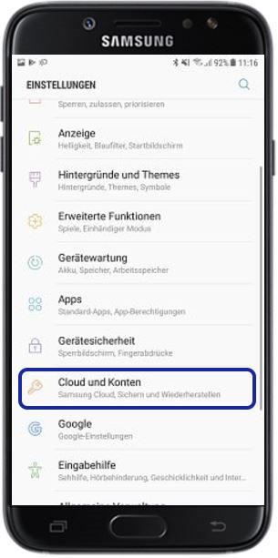Backup aus Samsung Cloud aufspielen, Cloud und Konten