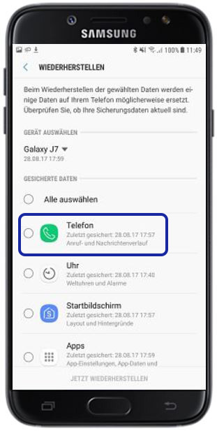 Backup aus Samsung Cloud aufspielen, Telefon