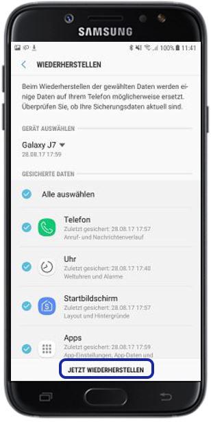Backup aus Samsung Cloud aufspielen, jetzt wiederherstellen