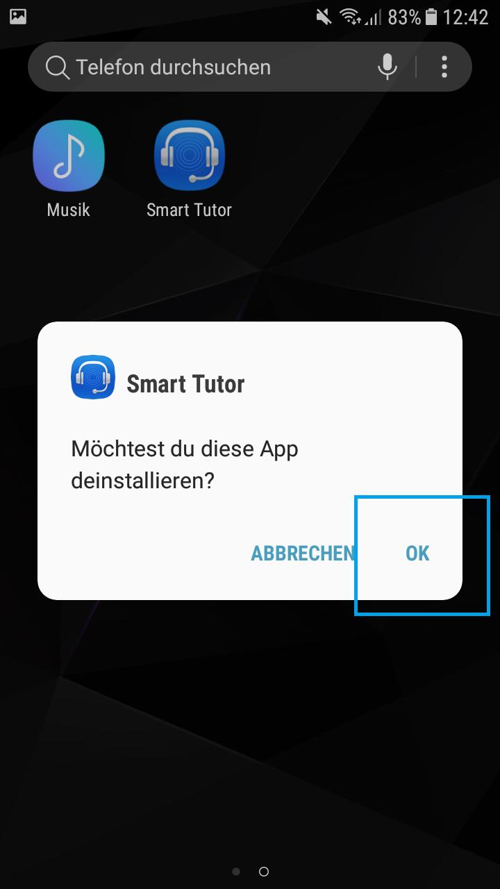 Auf OK tippen, um die App zu deinstallieren