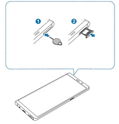 Speicherkarte in Samsung Galaxy Note8 einlegen, Kartenhalter ausziehen