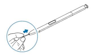 Spitze des S Pen bei einem Galaxy Note8 einsetzen