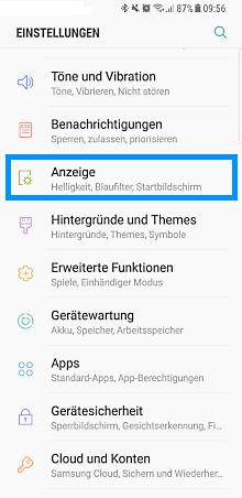 Einstellungen der Navigationsleiste bei einem Samsung Galaxy S8/S8+, Anzeigeoptionen