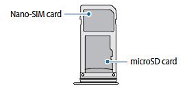 Kartenhalterbelegung bei einem Samsung Galaxy Note8 mit 2 SIM-Karten