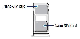 Kartenhalterbelegung bei einem Samsung Galaxy Note8 mit einer SIM-Karte und einer SD-Karte