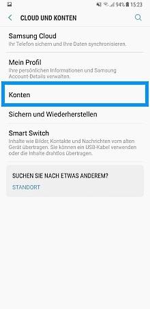 Samsung Konto bei Galaxy8 anmelden, Einstellungen, Konten
