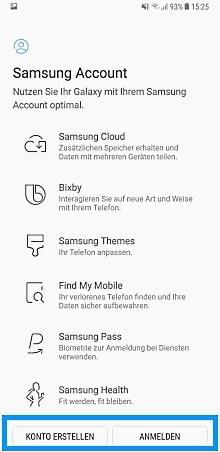 Samsung Account erstellen oder aufrufen