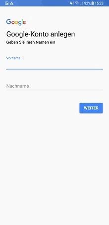 Google Konto auf Samsung Galaxy Note8 anlegen, Name eingeben