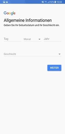 Google Konto auf Samsung Galaxy Note8 anlegen, Geburtsdatum und Geschlecht eingeben