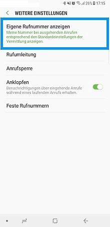 Samsung Galaxy Note 8, Rufnummer unterdrücken, Weitere Einstellungen, Eigene Nummer anzeigen