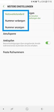 Samsung Galaxy Note 8, Rufnummer unterdrücken, Weitere Einstellungen, Netzwerkstandard