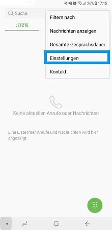 Samsung Galaxy Note 8, Rufumleitung einstellen, Einstellungen auswählen