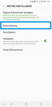 Samsung Galaxy Note 8, Rufumleitung einstellen, Rufumleitung auswählen