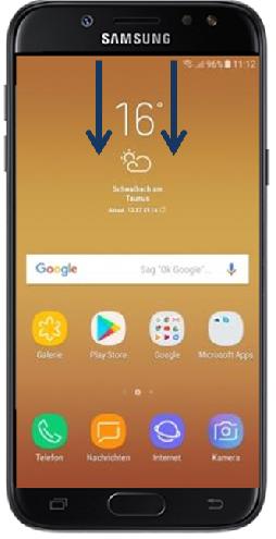 Samsung Galaxy J5, Anzeige der Standorterkennung auf Bildschirm