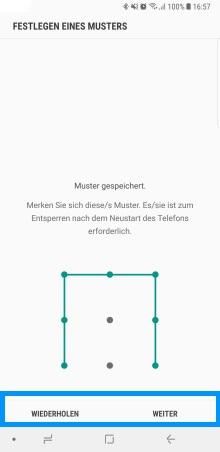 Mustersperre auf Samsung Galaxy Note8 festlegen