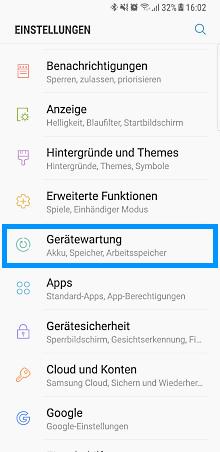 modus auf Samsung Galaxy anpassen, Einstellungen, Gerätewartung