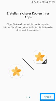 Samsung Galaxy Note 8, Sicherer Ordner, Kopien Apps