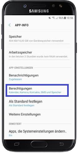 Wie kann ich die App-Berechtigungen bei meinem Galaxy J5 (2017) DUOS ändern?