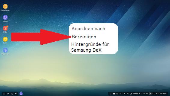 Optionen Startbildschirm Samsung DeX Station, Bereinigen